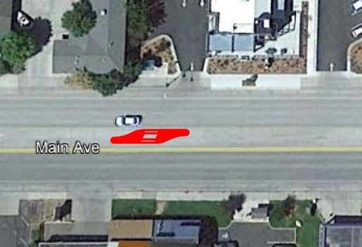 Satellite image of CDOT proposed midblock crossing location #2 south of Birds access on N Main Ave.