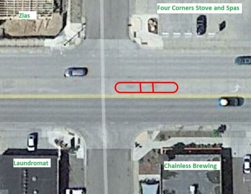 Satellite image of CDOT proposed crossing location #3 on north side of 30th on N Main Ave.