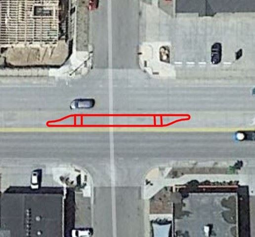 Image of CDOT proposed crossing location #4 restricting all left turns at 30th and Main.