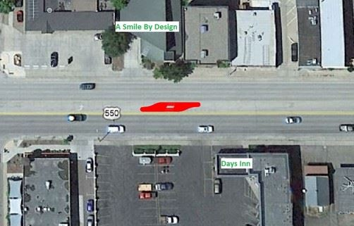 Image of CDOT proposed midblock crossing location #5 between 30th and 31st on Main.
