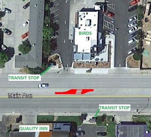Image of CDOT proposed midblock crossing location #1 directly in front of Birds on Main Ave.