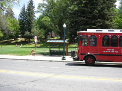 A Durango bus stop and red bus